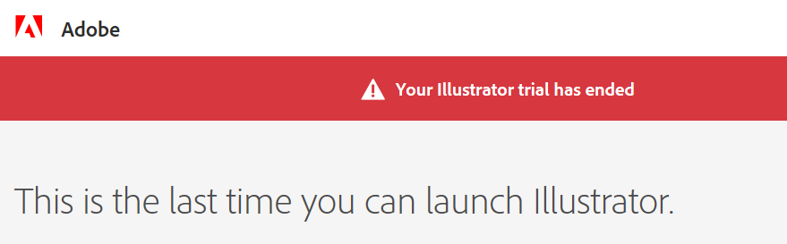 Illustrator free trial ended